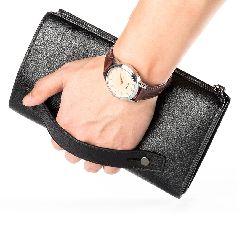 14b6354f825b Luxury Wallets With Coin Pocket Long Zipper Coin Purse for Men Clutch  Business Male Wallet Double Zipper Vintage Large Wallet