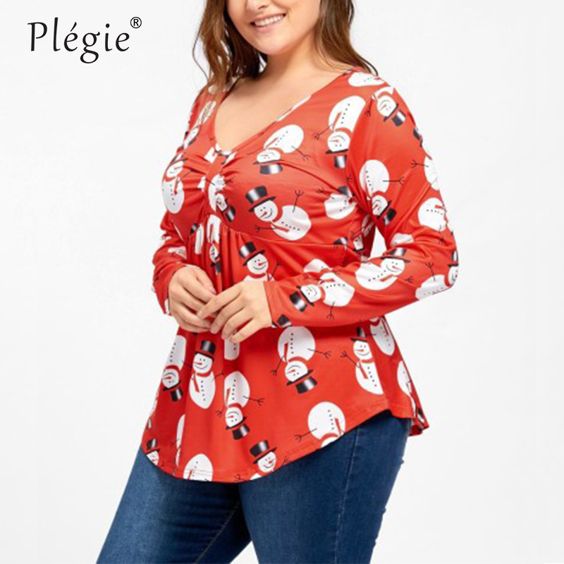 Plegie Plus Size L 5xl Shirt Womens Tops And Blouses Christmas