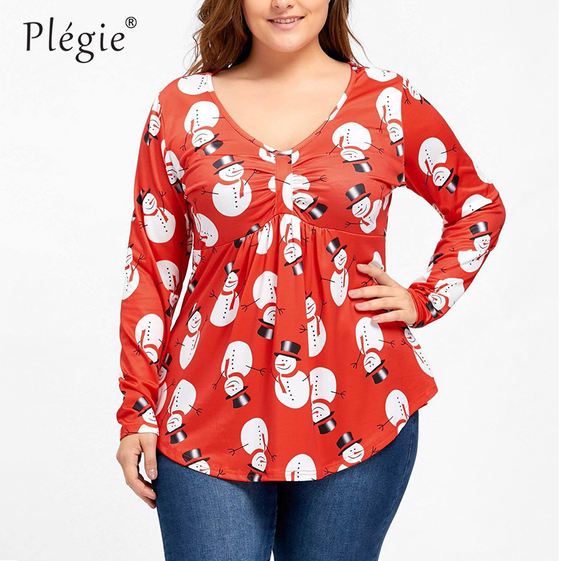 Christmas Tops Plus Size.Plegie Plus Size L 5xl Shirt Womens Tops And Blouses Christmas Snowman Digital Printed Big Size Blusas Mujer De Moda 2018