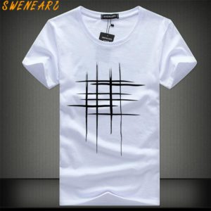 e62ab367ebe SWENEARO 2018 Simple creative design line cross Print cotton T Shirts Men s  New Arrival Summer Style Short Sleeve Men t-shirt