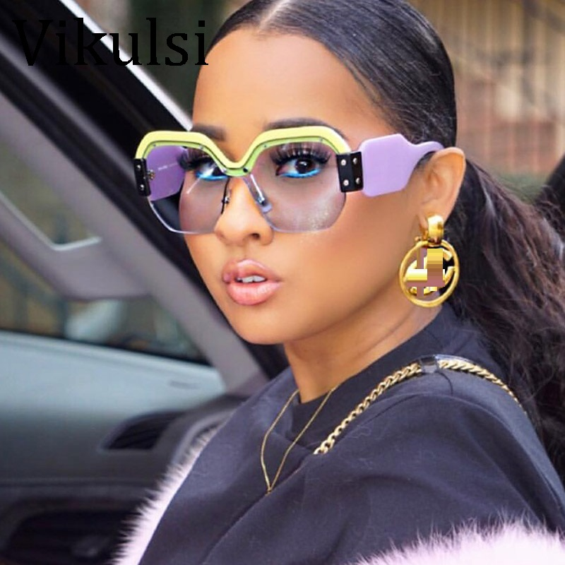 93a99b55d4a2 Sexy Rimless Oversized Sunglasses Women Vintage 2018 Red Pink Luxury ...