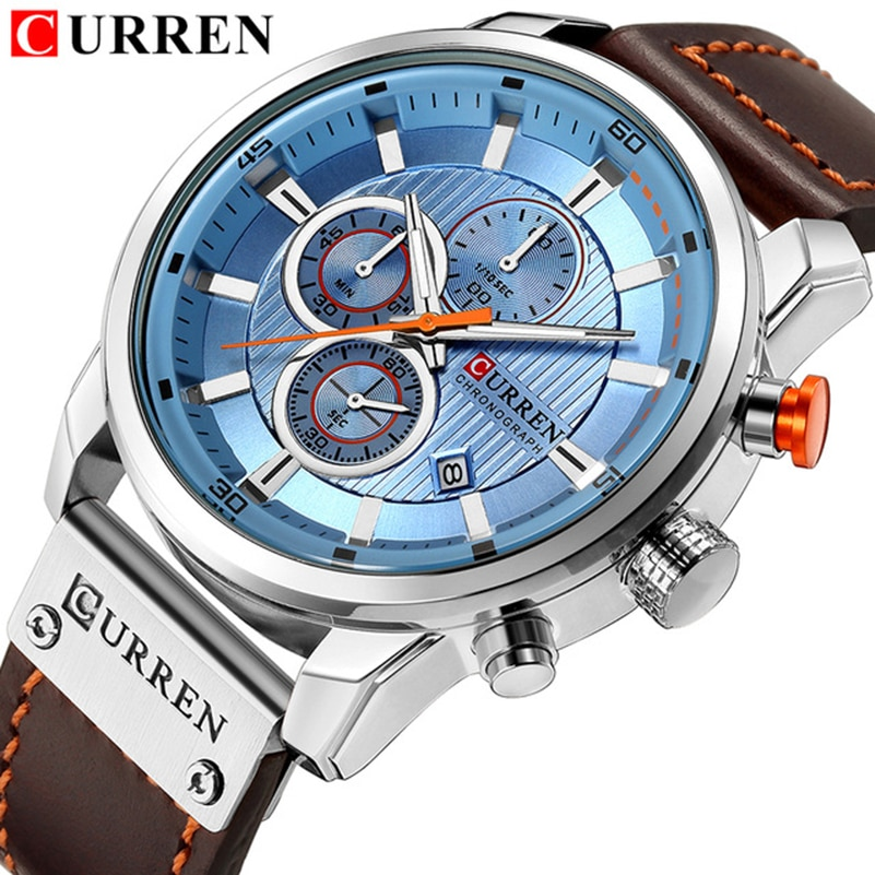 bcd7e8a06cf2 Top Brand Luxury CURREN 2018 Fashion Leather Strap Quartz Men Watches Casual  Date Business Male Wristwatches ...