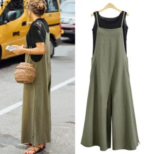 50c5112cb6a 2018 Summer ZANZEA Women Cotton Linen Wide Leg Romper Casual Strappy  Sleeveless Loose Long Jumpsuit Dungaree Party Overalls