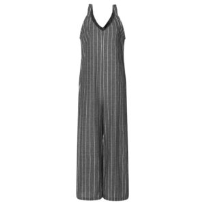 00679ed0728 2018 Summer ZANZEA Women Sexy Deep V Neck Striped Jumpsuits Sleeveless  Overalls Rompers Casual Loose Work OL Wide Leg Pants 5XL
