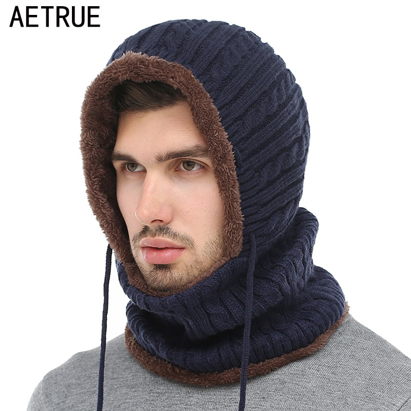 AETRUE Winter Knitted Hat Beanie Men Scarf Skullies Beanies Winter ... 388faeccb16