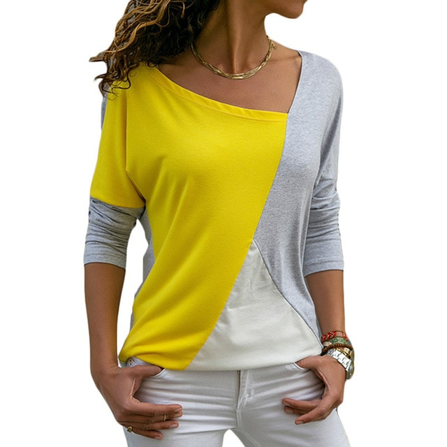 7cdc4f818d958 Autumn Long Sleeve Woman Tshirt Top 2018 Casual Patchwork Loose T ...