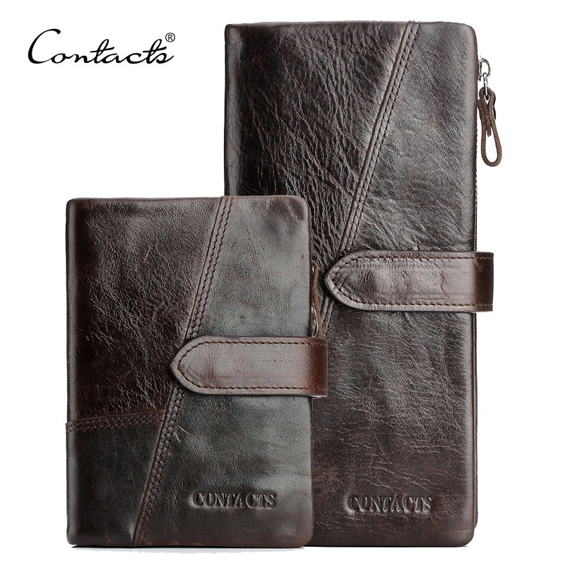 910a9a716a CONTACT S Genuine Crazy Horse Cowhide Leather Men Wallets Fashion Purse  With Card Holder Vintage Long Wallet Clutch Wrist Bag
