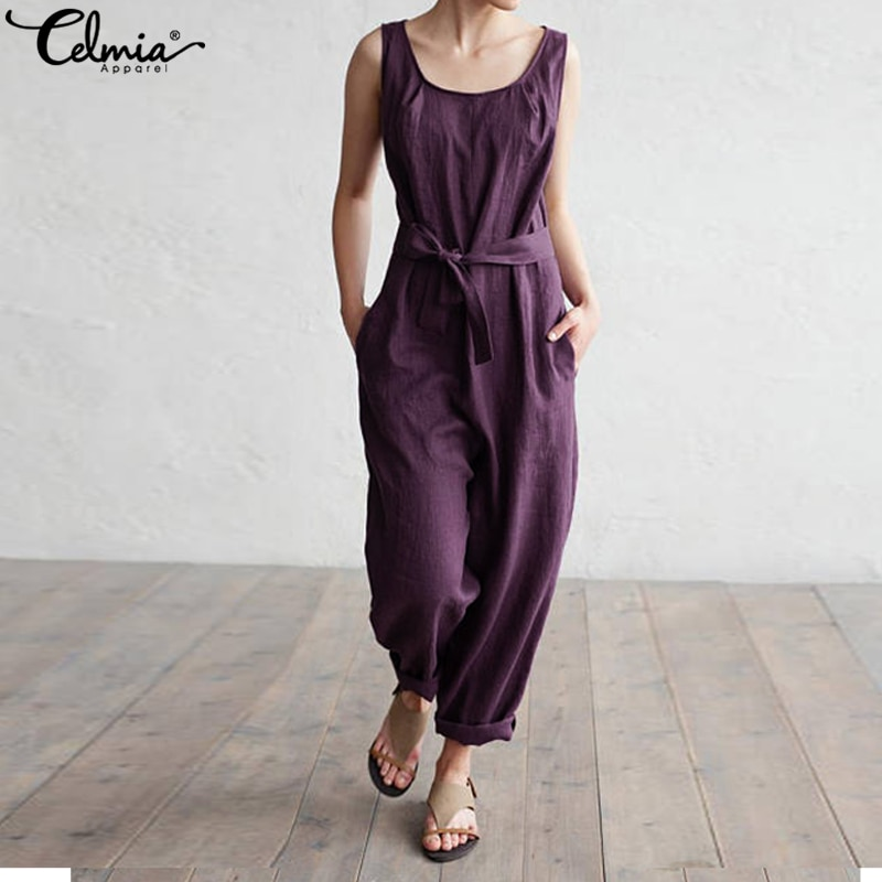 bbd3def865649 Celmia Women Jumpsuit 2018 Summer Trouser Office Work Harem Pants ...