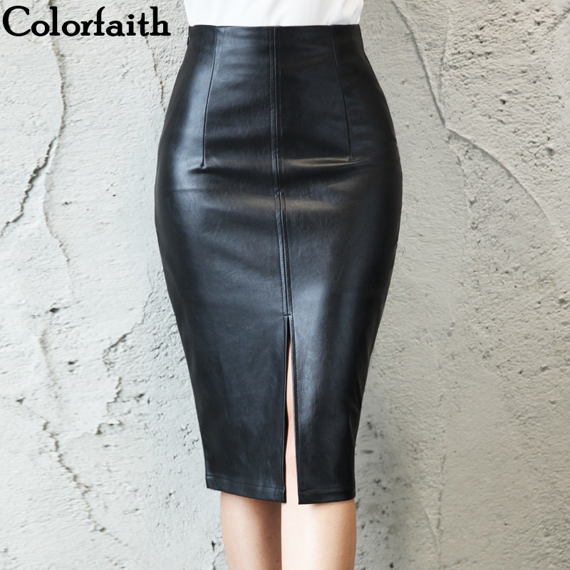 6cae57e20 Colorfaith 2018 Women PU Leather Midi Skirt Autumn Winter Ladies Package Hip  Front or Back Slit Pencil ...