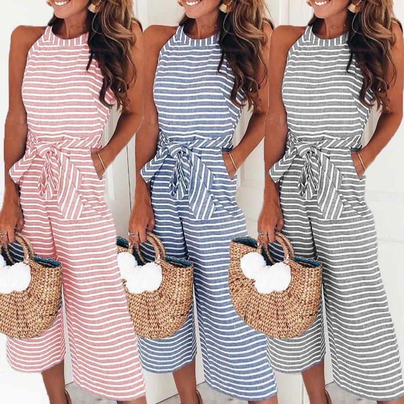 ab7eced45e09 Elegant Sexy Jumpsuits Women Sleeveless Striped Jumpsuit Loose Trousers Wide  Leg Pants Rompers Holiday Belted Leotard Overalls