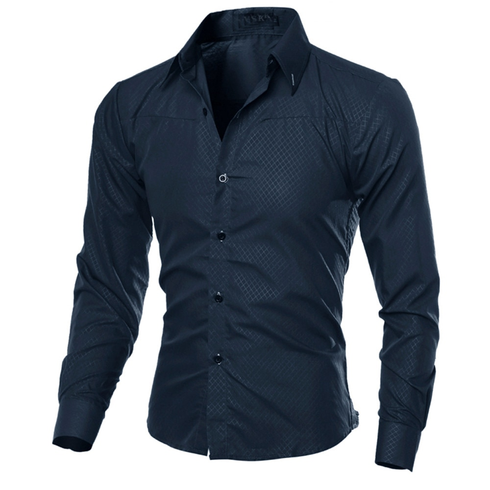 90e89b82129e FeiTong Autumn Men s Shirts Men Clothes Slim Fit Man Long Sleeve ...