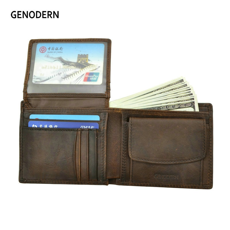 cc41b497d27a GENODERN Cow Leather Men Wallets with Coin Pocket Vintage Male Purse  Function Brown Genuine Leather Men Wallet with Card Holders