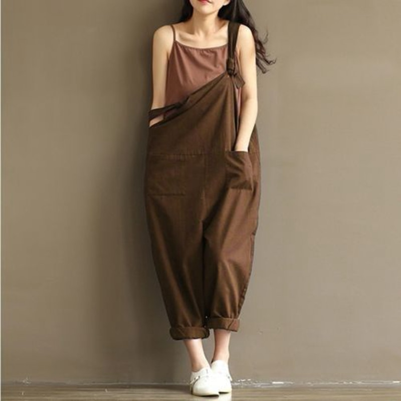 HOT Fashion Women Girls Loose Solid Jumpsuit Strap Dungaree Harem Trousers  Ladies Overall Pants Casual Playsuits Plus Size ... aa43acb53712