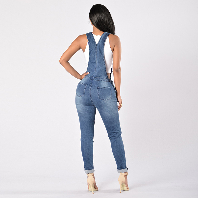 d1fef878c36b Laamei 2018 New Spring Women Overalls Cool Denim Jumpsuit Ripped Holes  Casual Jeans Sleeveless Jumpsuits Hollow Out Slim Rompers