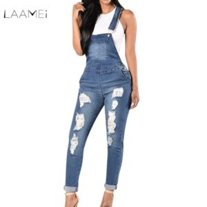 82a28c59380 Laamei 2018 New Spring Women Overalls Cool Denim Jumpsuit Ripped Holes  Casual Jeans Sleeveless Jumpsuits Hollow Out Slim Rompers