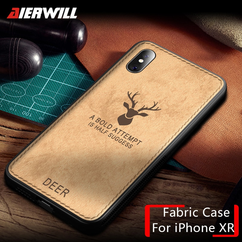 new product 1c4a2 3f51c Luxury Cloth Case For iPhone XR case 2018 Deer Fabric Ultra Thin Soft  Silicone Hard Back Bumper Cover For iPhone Xs Xs Max Case