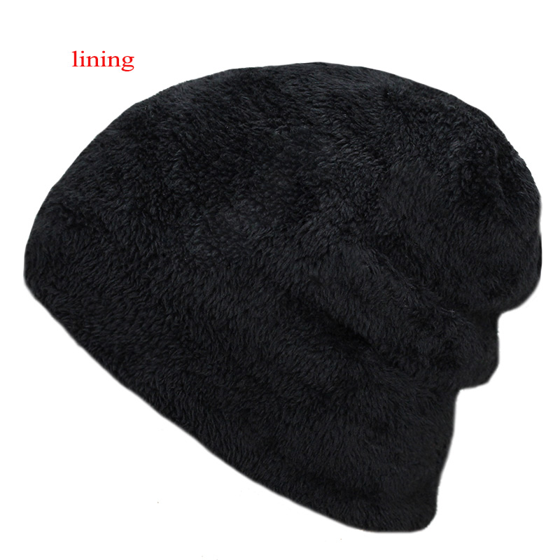 Men s winter hat 2017 fashion knitted black hats Fall Hat Thick and ... 0f415ce1fb5