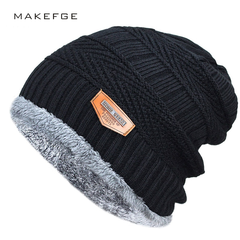 21701be2d0e504 Men's winter hat 2017 fashion knitted black hats Fall Hat Thick and ...