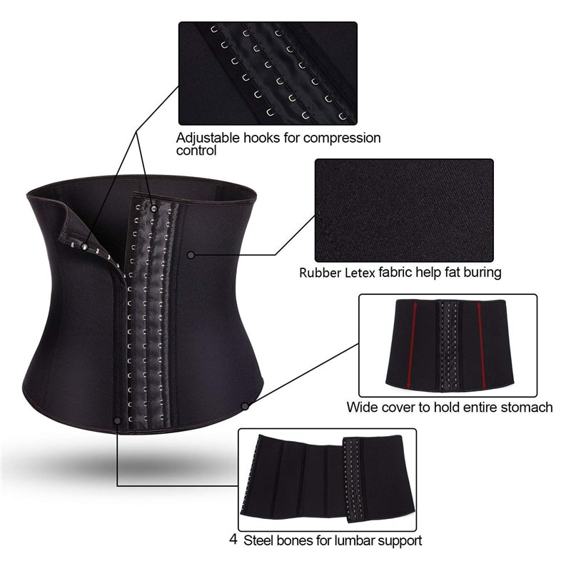 43939cb6772a1 NINGMI Rubber Body shaper for women sexy Shapewear Waist Trainer Cincher  latex Shaper Burning Slimming waist Belt Corset Bustier