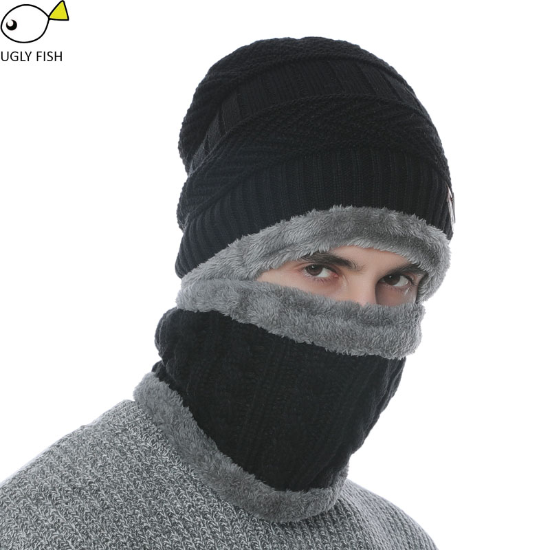 Neck warmer winter hat knit cap scarf cap Winter Hats For men ... a50c932b688a