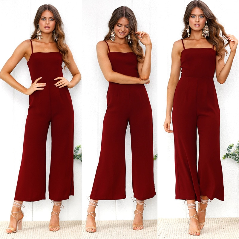 Women's Clothing 2018 Summer New Women Sexy Square Collar Slim Fit Jumpsuit