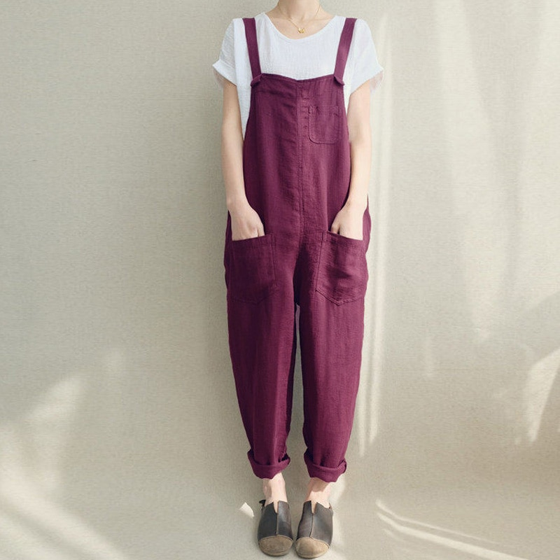 discount collection prevalent factory Plus Size ZANZEA 2018 Summer Women Loose Casual Bib Overalls Cotton Linen  Rompers Long Jumpsuits Solid Strappy Pockets Dungarees