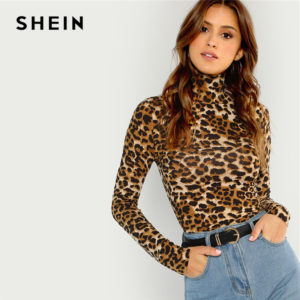 04a754fae9a SHEIN Brown Highstreet Office Lady High Neck Leopard Print Fitted Pullovers  Long Sleeve Tee 2018 Autumn Casual Women T-shirt Top
