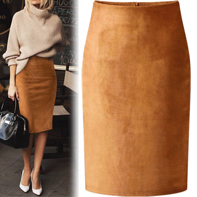 7153d8bced Sexy Multi Color Suede Midi Pencil Skirt Women 2018 Fashion Elastic High  Waist ...