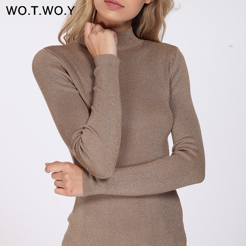 fc54550355 WOTWOY Shiny Lurex Turtleneck Sweater Women Pullover Knitted Slim 2018  Winter Cashmere Sweaters Womens Jumpers ...