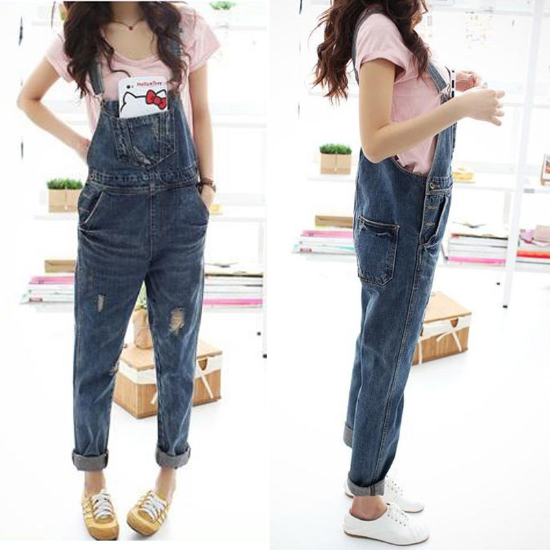 Women Denim Jumpsuit 2018 Ladies Loose Jeans Rompers Female Casual Plus  Size Hole Denim Overall Playsuit With Pocket