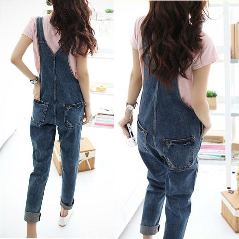 Women Denim Jumpsuit 2018 Ladies Loose Jeans Rompers Female Casual Plus Size  Hole Denim Overall Playsuit With Pocket 304f1c8087ed