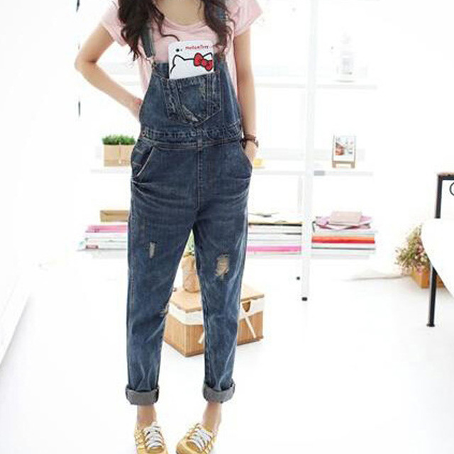 Women Denim Jumpsuit 2018 Ladies Loose Jeans Rompers Female Casual