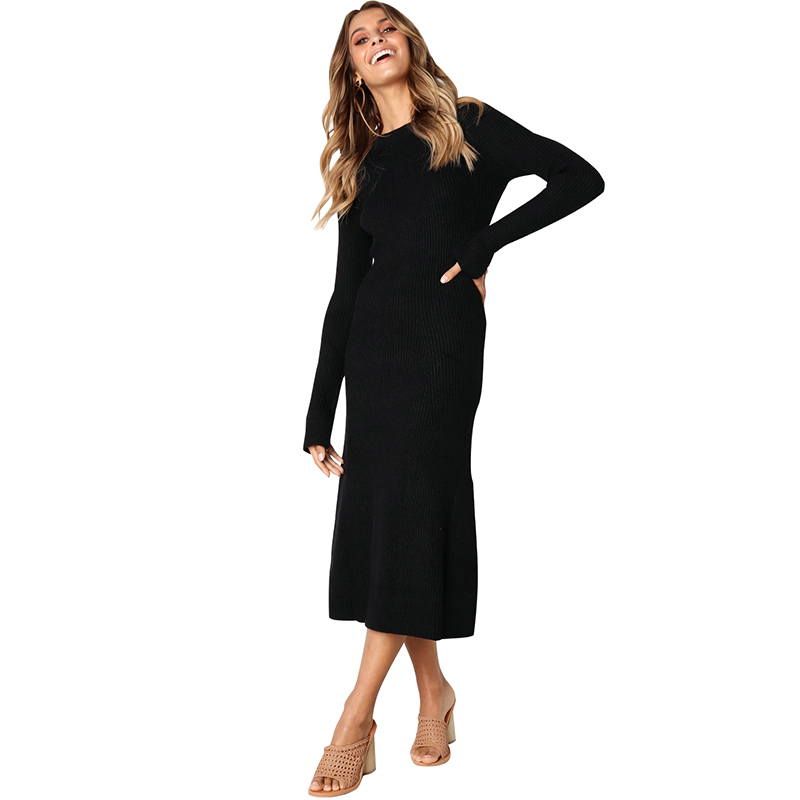 d136fab303ad5 Women Fall Winter Slim Ribbed Knitted Midi Dress O-Neck Long Sleeve Solid  Color Elegant Jumper Casual Long Bodycon Party Dress