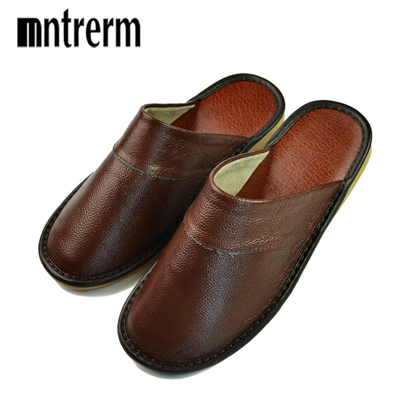 14e47fbbeb06dc Women Mntrerm New Slippers Luxury Spring Summer Home Slippers men Cow  Leather Indoor ...