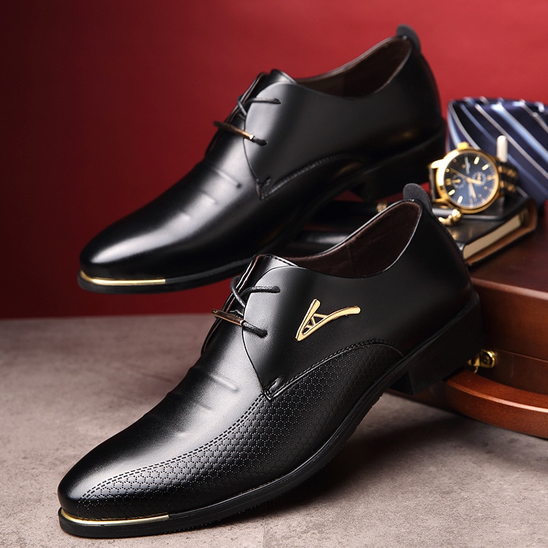 luxury Brand Classic Man Pointed Toe Dress Shoes Mens ...