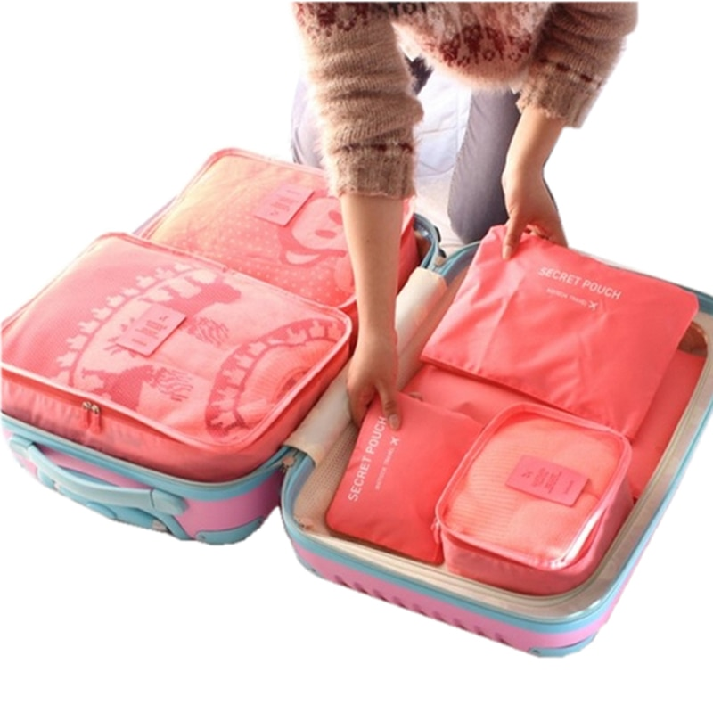bdfa85179a20 6 PCS Travel Storage Bag Set For Clothes Tidy Organizer Wardrobe Suitcase  Pouch Travel Organizer Bag Case Shoes Packing Cube Bag