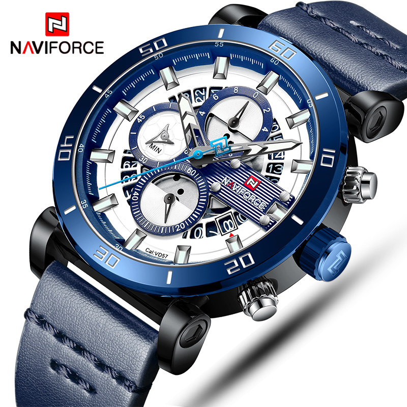 4777f5943 NAVIFORCE Mens Sports Watches Men Top Brand Luxury Leather Quartz ...