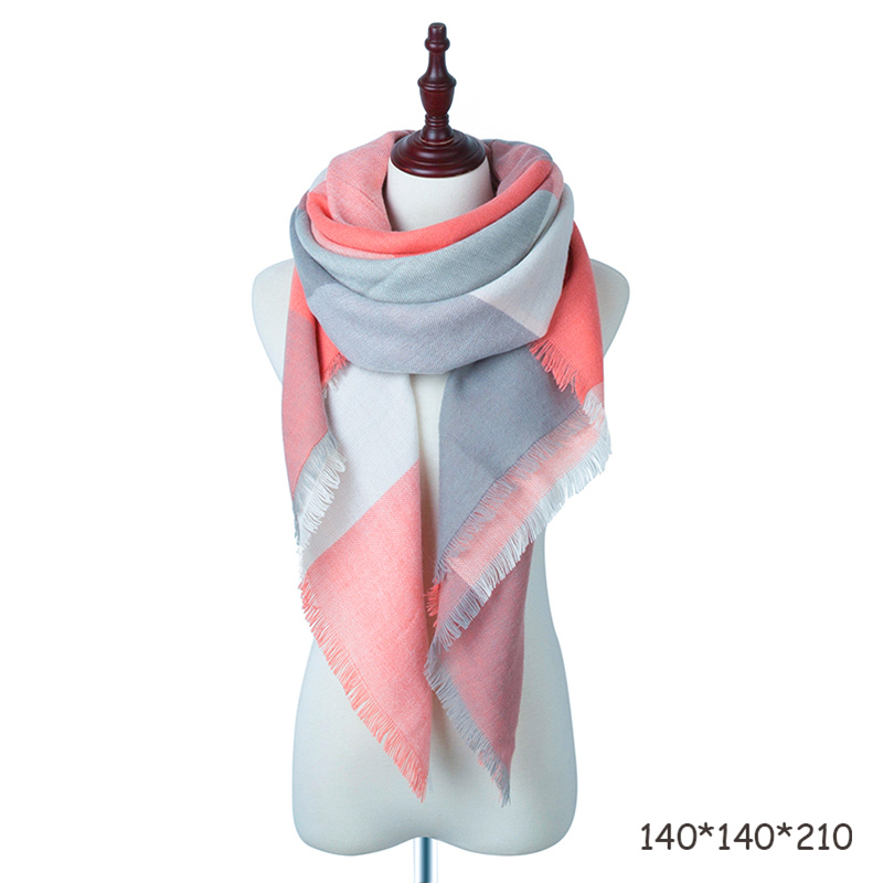Women Cashmere Scarf Warm Scarves Fashion Luxury Scarves-Pink-Women