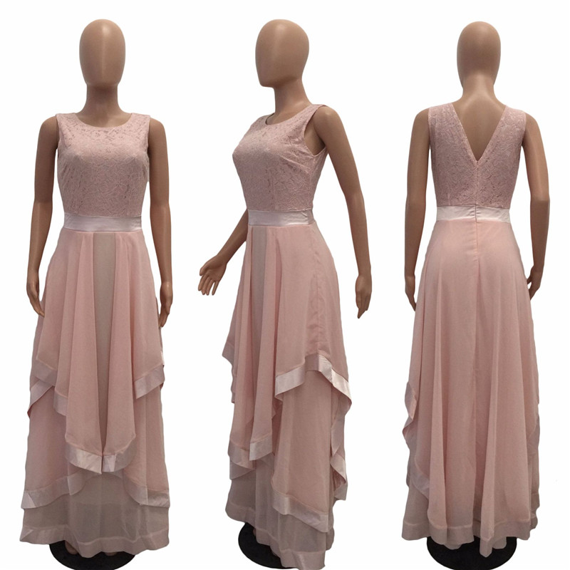 Women Formal Floral Lace Wedding Elegant Chiffon Evening Party Dress Ball Gown