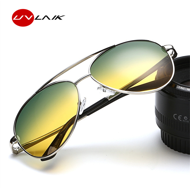 Day And Night Driving Glasses With HD Polarized Anti Glare Yellow Green For Men
