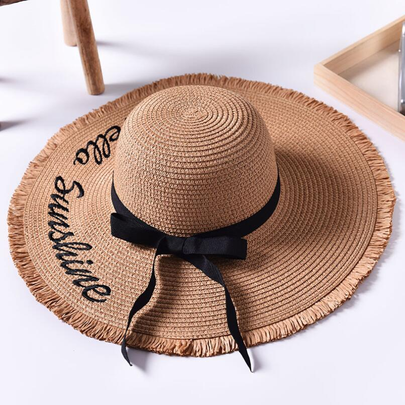 ec2ca0fe0e9 Handmade Weave letter Sun Hats For Women Black Ribbon Lace Up Large Brim  Straw Hat Outdoor Beach Summer ...