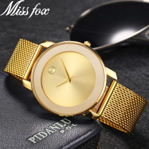 d1fd0769263 Miss Fox Ladies Gold Watch Women Famous Brand Minimalist Steel Mesh Simple  Geneva Watch Women Waterproof Xfcs Role Quartz Watch
