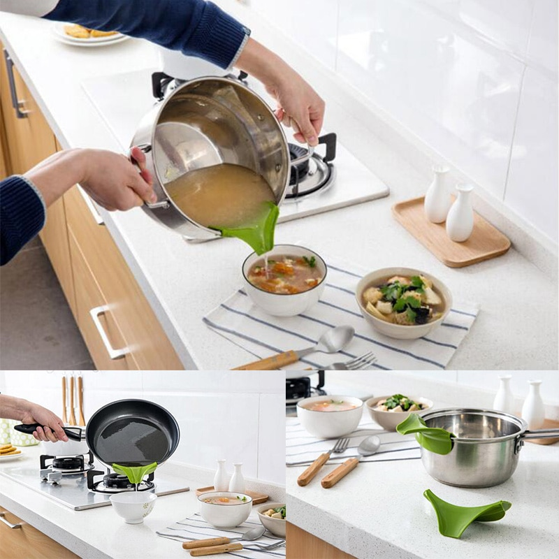 Kitchen Spills: Creative Kitchen Accessories Silicone Funnel Cooking Tools