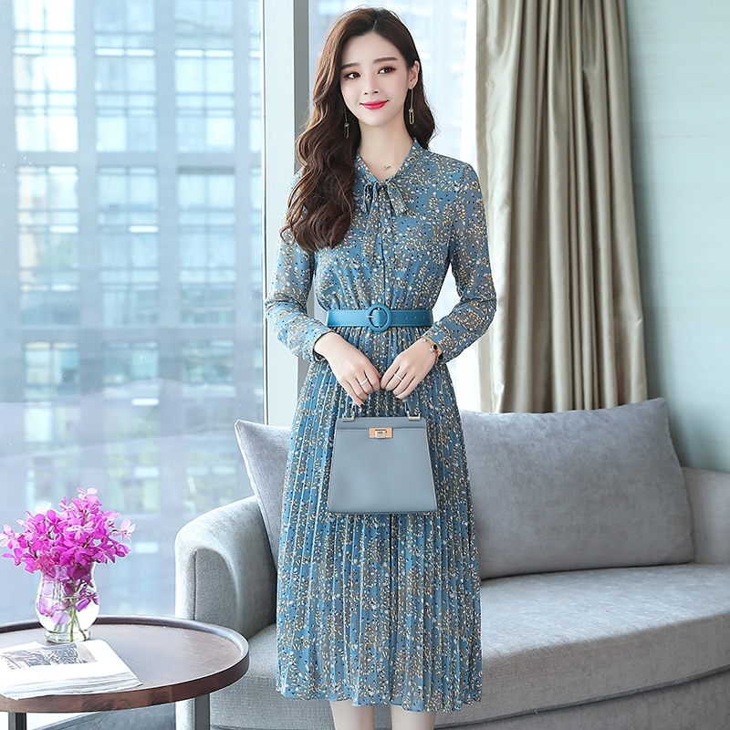 2019 Autumn Winter Vintage Chiffon Floral Midi Dress Plus Size Maxi Boho  Dresses Elegant Women Party Long Sleeve Dress Vestidos